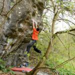David Mason climbing the FA of Candy Man Sit Start 8A